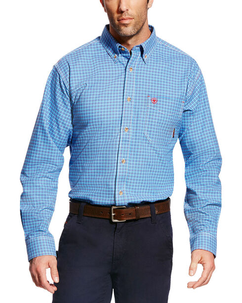 Ariat Men's FR Oliver Long Sleeve Plaid Work Shirt, Blue, hi-res