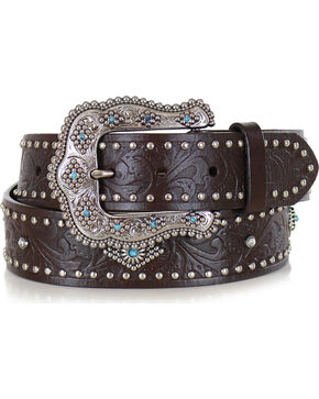 Shyanne® Women's Filigree Leather Belt , Brown, hi-res