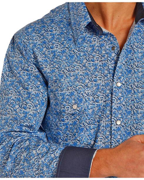 Rock & Roll Cowboy Men's Printed Long Sleeve Shirt, Blue, hi-res