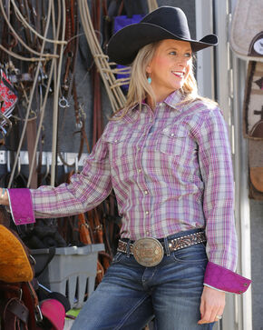 Cinch Women's Double Pocket Plaid Long Sleeve Shirt, Multi, hi-res