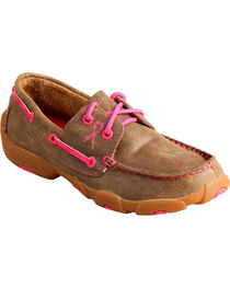 Twisted X Kids' Breast Cancer Awareness Driving Moccasins, , hi-res