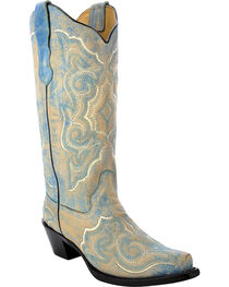 Corral Women's Distressed Leather Embroidered Cowgirl Boots - Snip Toe , , hi-res