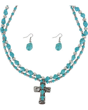 Shyanne® Women's Cross Jewelry Set, Silver, hi-res