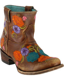 Corral Women's Shorty Floral Embroidered Western Boots, , hi-res