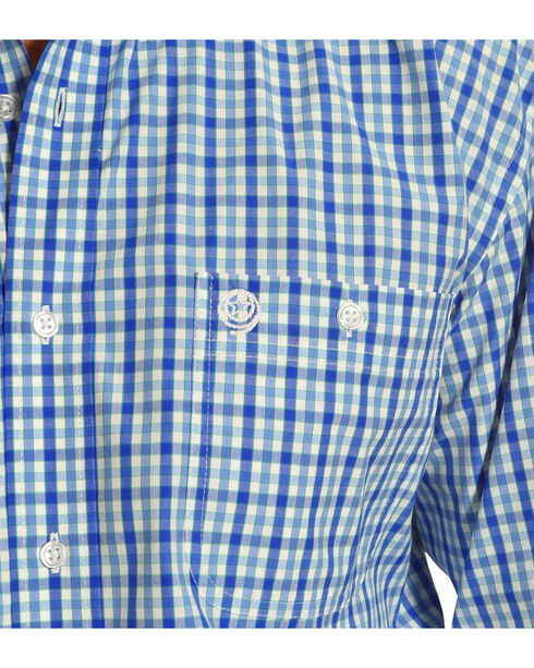 Wrangler George Strait Men's Blue/White/Blue Plaid Button Down Shirt, , hi-res