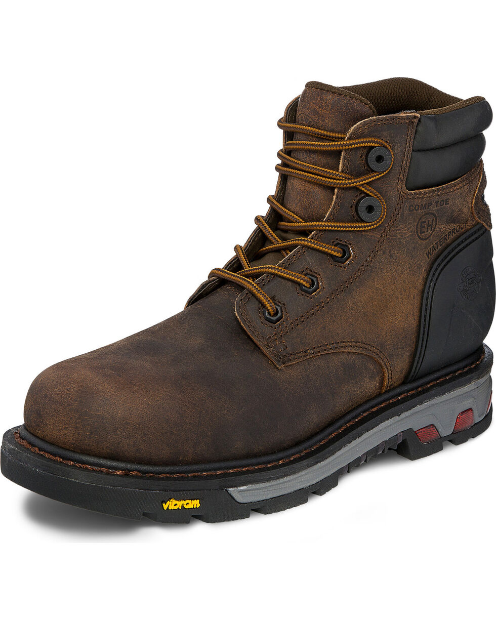 Justin Men's Drywall Waterproof Work Boots, Brown, hi-res