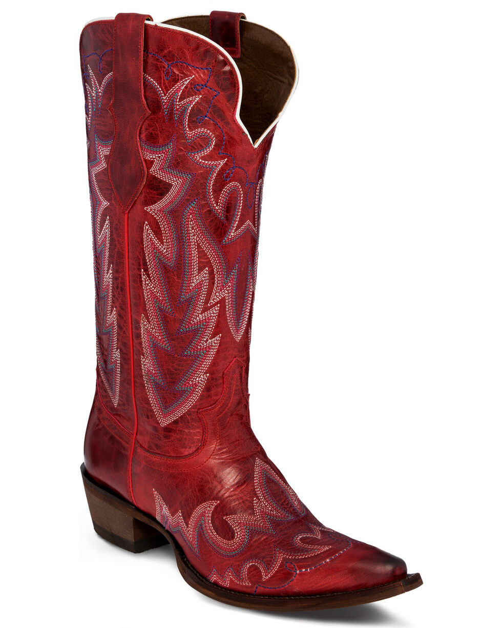 "Justin Women's 13"" Cowhide Western Boots, Red, hi-res"