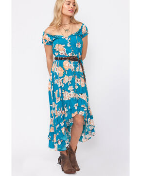 Shyanne Women's Floral Button-Down High-Low Dress, Blue, hi-res