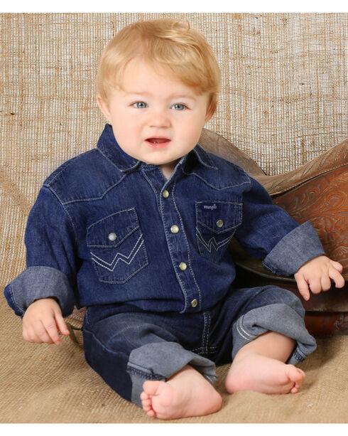 Wrangler Toddler Boys' Long Sleeve Denim Western Shirt, Indigo, hi-res