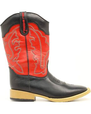 Double Barrel Boys' Trailboss Cowboy Boots - Square Toe, Black, hi-res