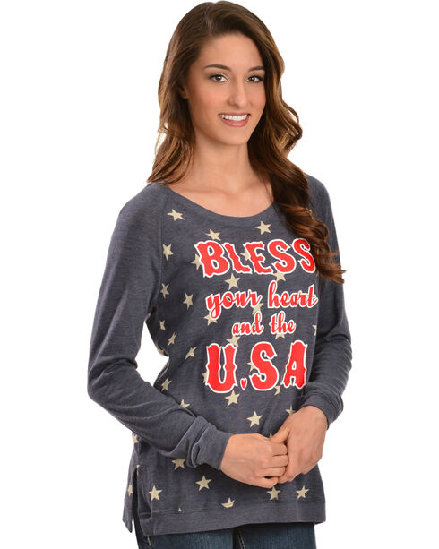 "ATX Mafia ""Bless Your Heart And The U.S.A."" Long Sleeve Shirt, Blue, hi-res"