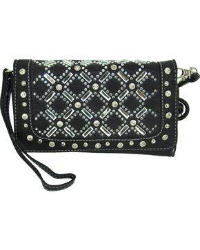 Savana Women's Tri-Fold Embellished Wallet , Black, hi-res