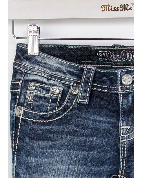 Miss Me Girls' Indigo Sure Thing Embroidered Jeans - Skinny , Indigo, hi-res