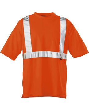 Wolverine Men's High Visibility Reflective Short Sleeve Polyester T-shirt, Orange, hi-res
