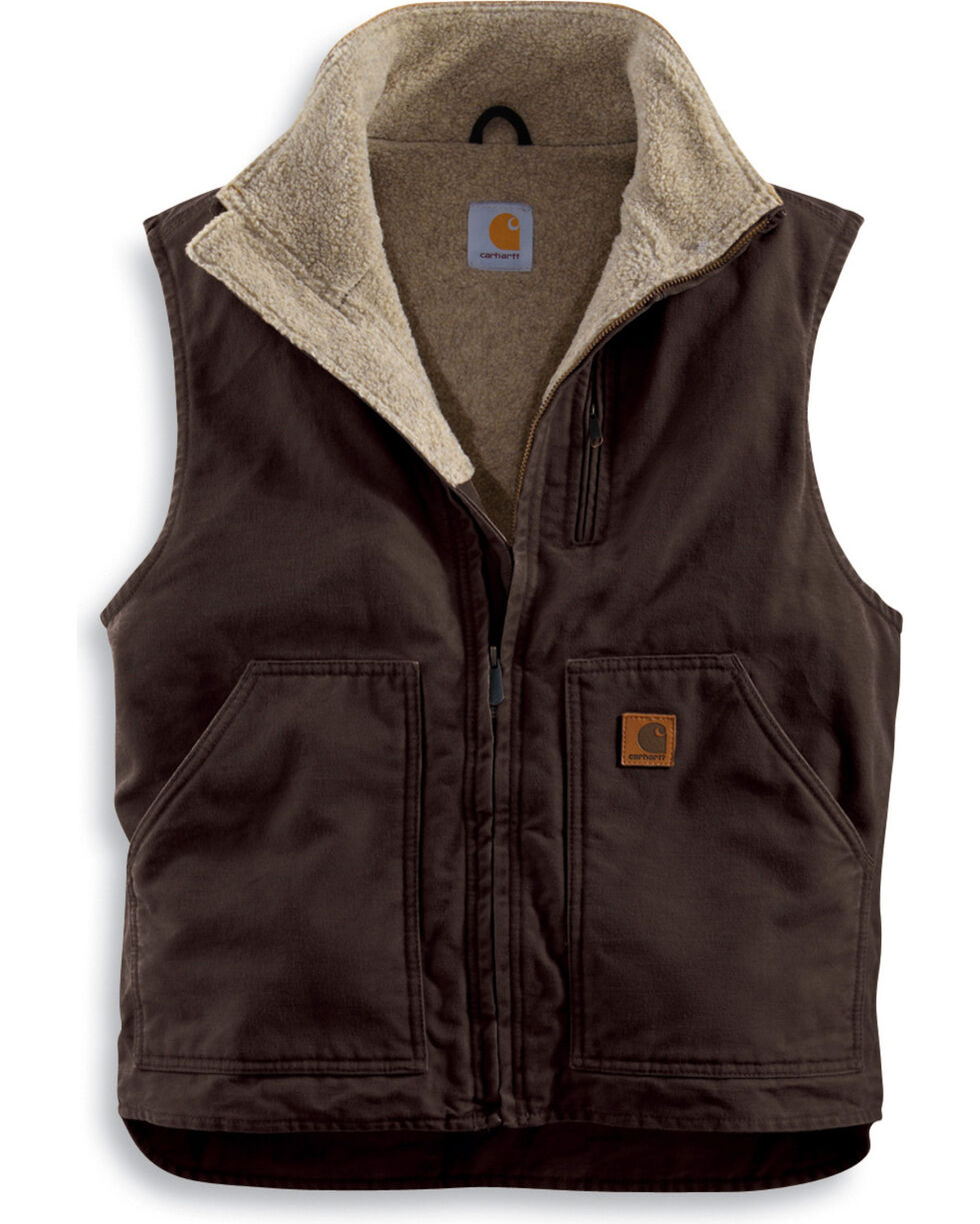 Carhartt Sherpa Lined Sandstone Duck Work Vest - Big & Tall, Brown, hi-res