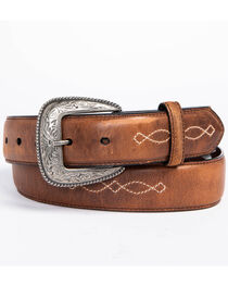 AndWest Men's Fancy Inlay Leather Belt, , hi-res