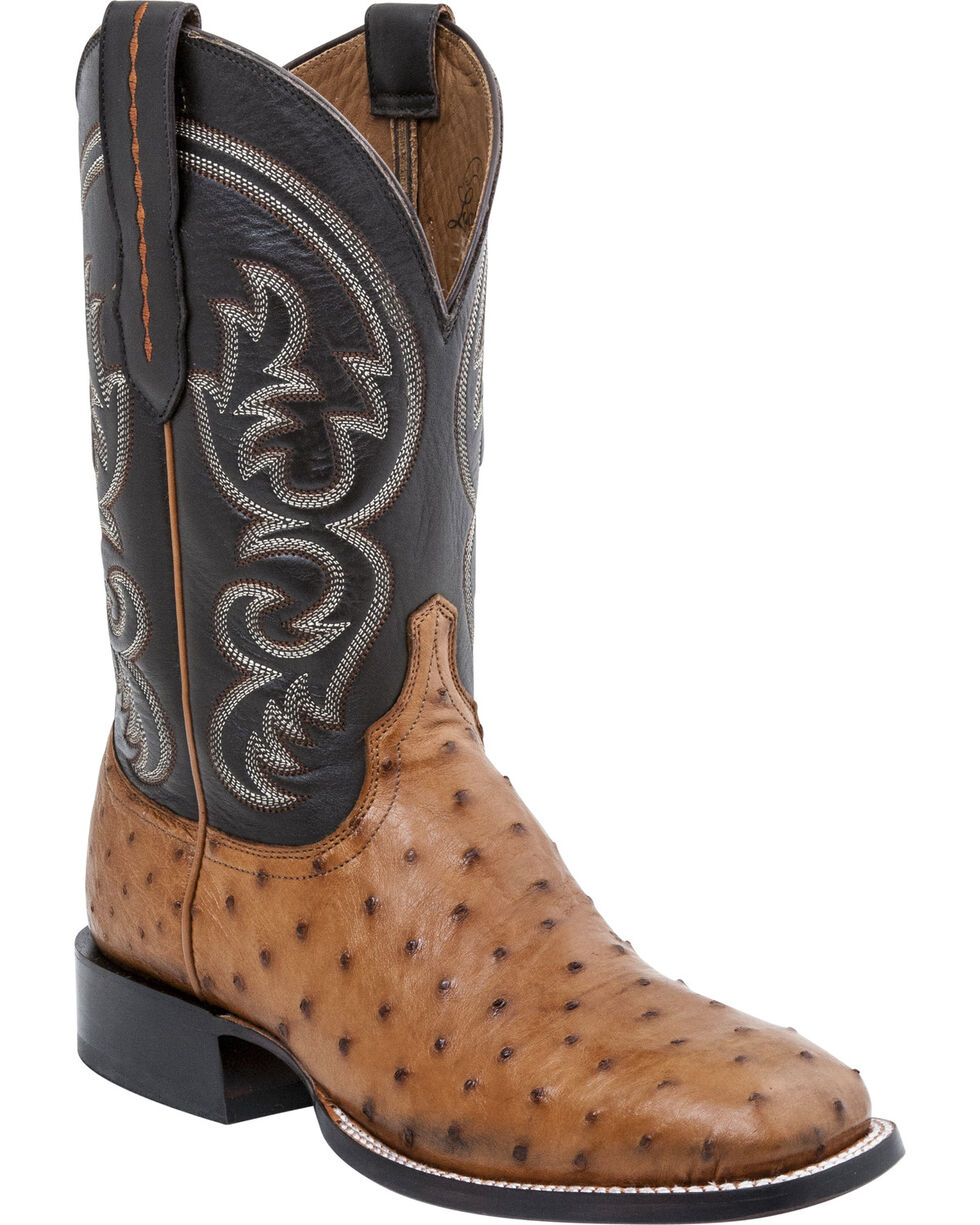 Lucchese Men's Josh Ostrich Exotic Boots, Tan, hi-res