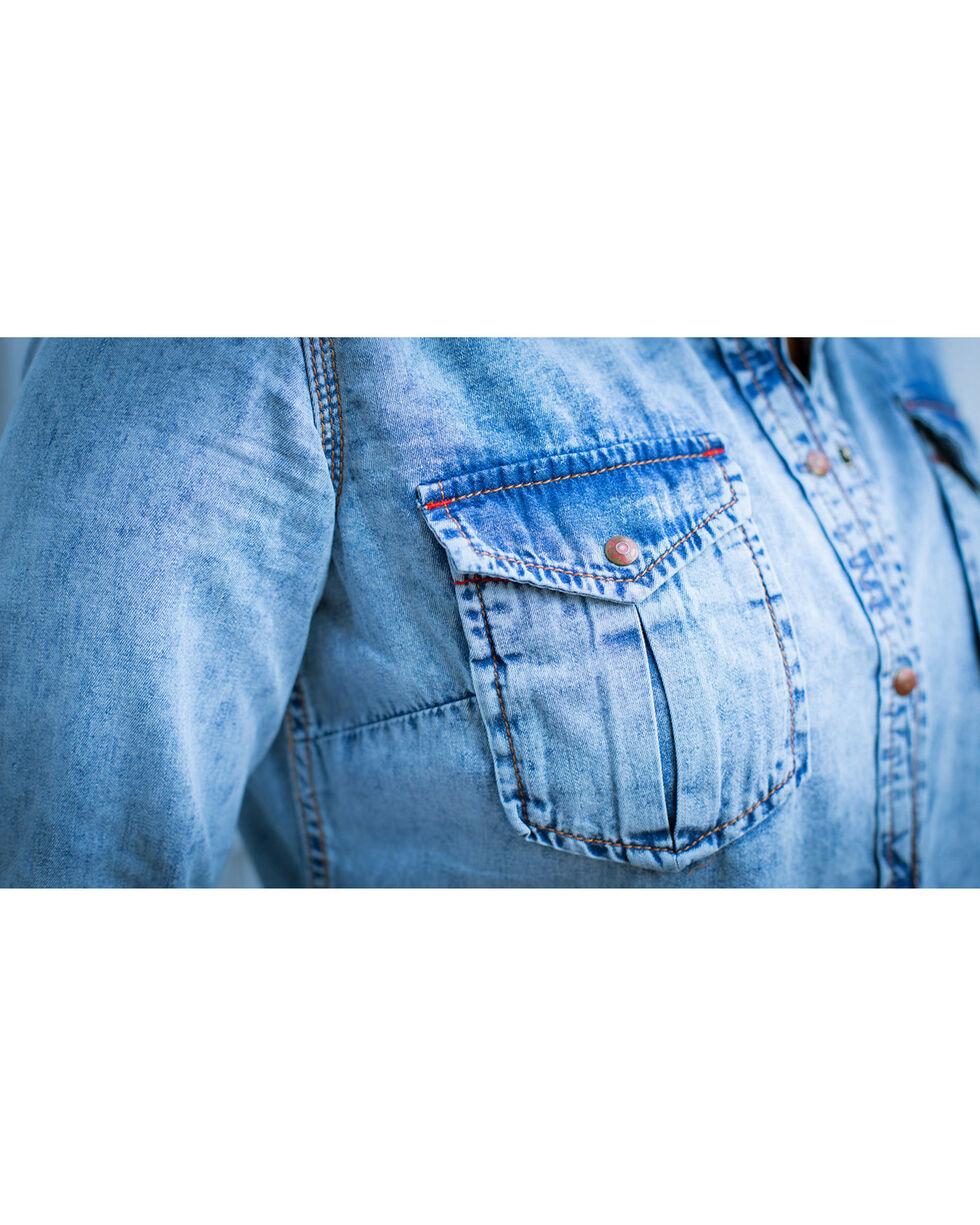 Ryan Michael Women's Serape Yoke Shirt , Indigo, hi-res