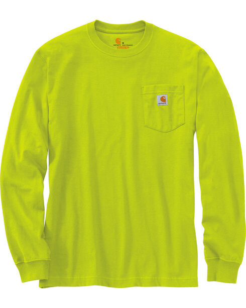 Carhartt Men's Green Long Sleeve Pocket T-Shirt - Tall, Green, hi-res