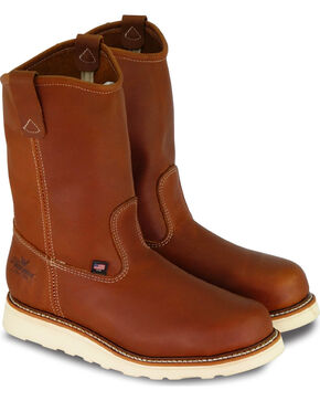 Thorogood Men's American Heritage Wedge Wellington Work Boots - Steel Toe, Brown, hi-res