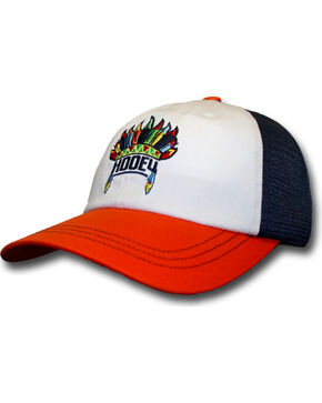 HOOey Women's Orange and Navy Nana Trucker Hat , Orange, hi-res