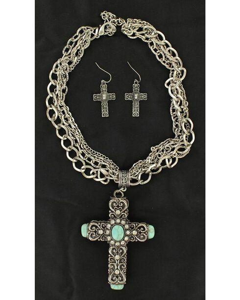 Blazin Roxx Antique Cross Turquoise Stone Necklace & Earrings Set, Silver, hi-res
