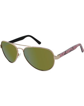Realtree Women's Gold Aviator Polarized Lens Sunglasses , Gold, hi-res