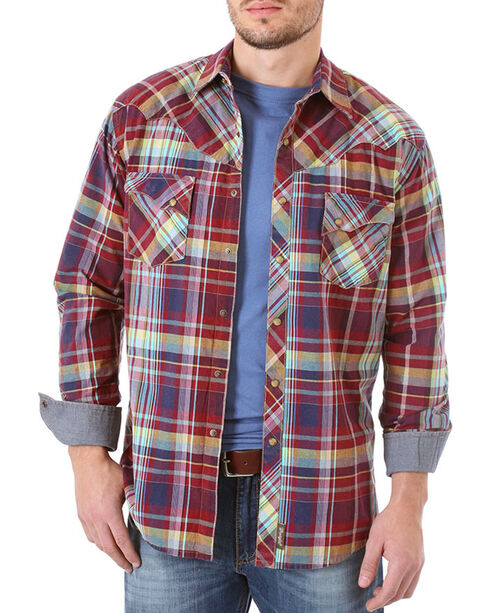 Wrangler Retro Men's Plaid Long Sleeve Western Shirt - Tall, Burgundy, hi-res