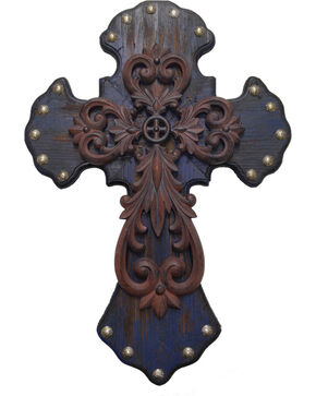 HiEnd Accents Studded Wood Wall Cross with Metal Cross Overlay, Multi, hi-res