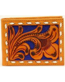Nocona Men's Bi-Fold Blue Floral Embossed Wallet, , hi-res