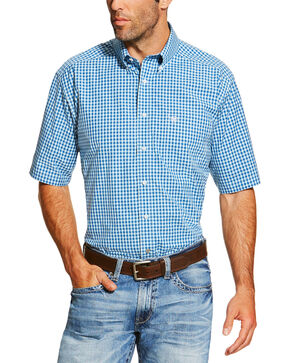 Ariat Men's Blue Mankins Short Sleeve Shirt, Blue, hi-res