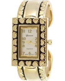Shyanne Women's Gold Heart Cuff Watch , , hi-res