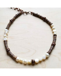 Jewelry Junkie Women's Freshwater Pearl and Wood Choker Necklace, , hi-res