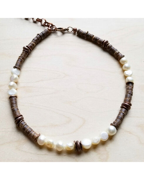 Jewelry Junkie Women's Freshwater Pearl and Wood Choker Necklace, White, hi-res