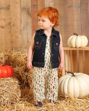 Wrangler Toddler Girls' Indigo Denim Vest , Indigo, hi-res