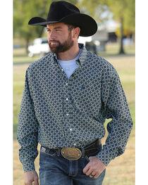 Cinch Men's Printed Plain Weave Long Sleeve Button Down Shirt, , hi-res