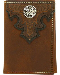 Ariat Men's Scroll Overlay Leather Tri-fold Wallet , , hi-res