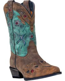 Dan Post Girls' Blue Bird Cowgirl Boots - Snip Toe, , hi-res