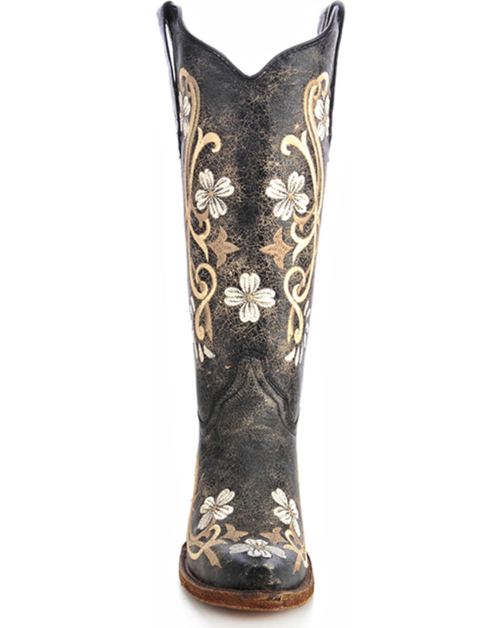 Circle G Women's Floral Embroidered Western Boots, Black, hi-res