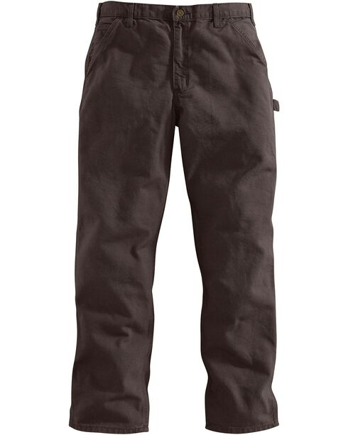 Carhartt Dark Brown Washed Duck Dungaree Work Pants - Big & Tall, Dark Brown, hi-res