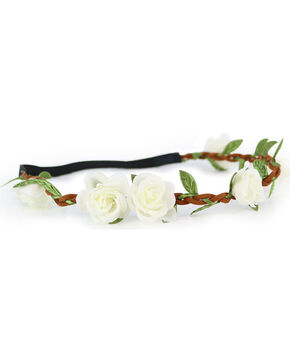 Shyanne Women's Mini White Rose Headband, White, hi-res