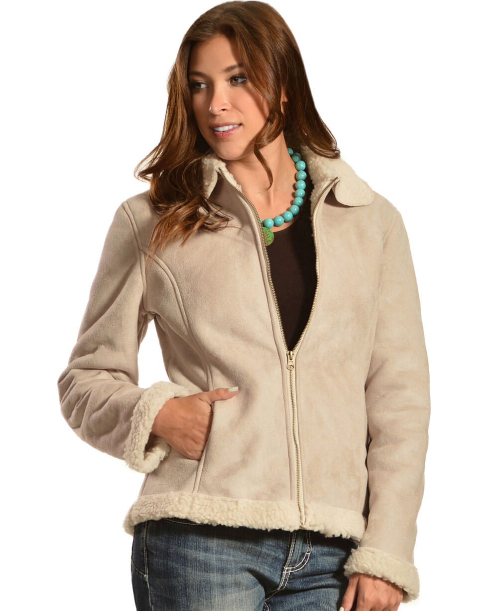 Red Ranch Women's Short Faux Suede Sherpa Jacket, , hi-res