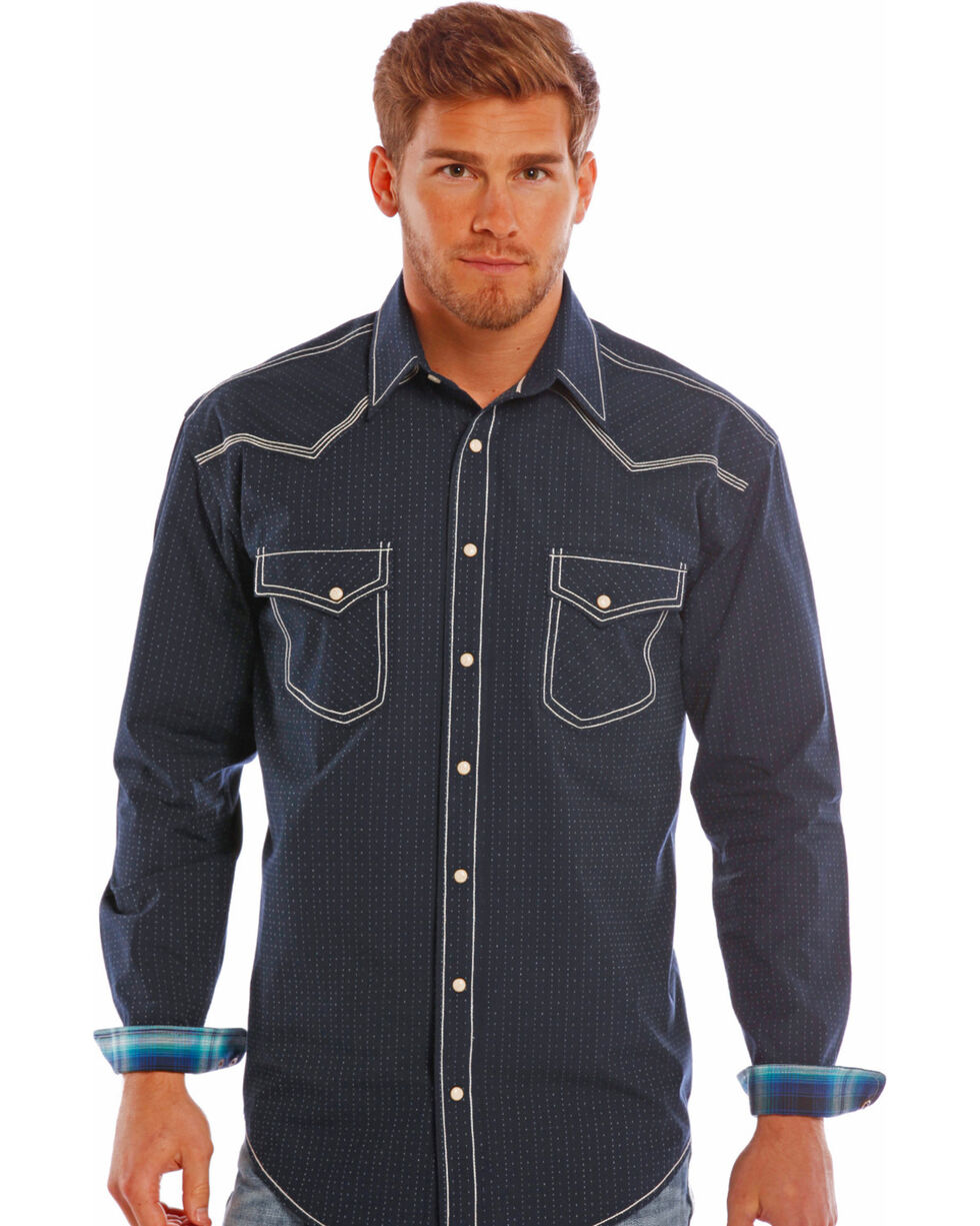 Rough Stock by Panhandle Slim Men's Navy Ralisades Vintage Dobby Shirt , Navy, hi-res