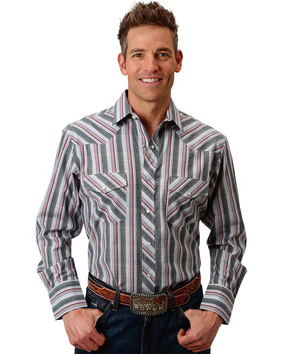 Roper Men's Grey/Red/White Plaid Long Sleeve Snap Shirt, Grey, hi-res
