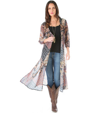 Wrangler Women's Lightweight Printed Fashion Duster, Black, hi-res