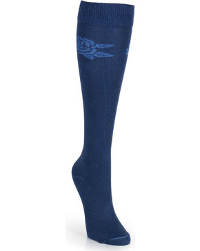 Wrangler Women's Flower Boot Socks, Navy, hi-res