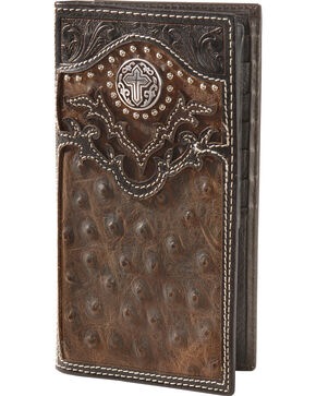 Nocona Ostrich Print Vintage Rodeo Wallet, Brown, hi-res