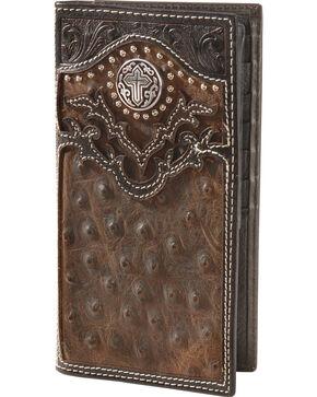 Nocona Ostrich Print Vintage Rodeo Wallet, Brown, hi-res