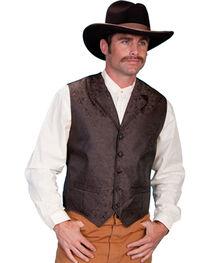 Scully Men's Paisley Print Western Vest, Brown, hi-res