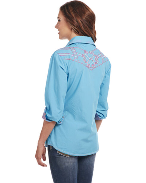 Cowgirl Up Women's Teal Embroidered Western Shirt , Teal, hi-res